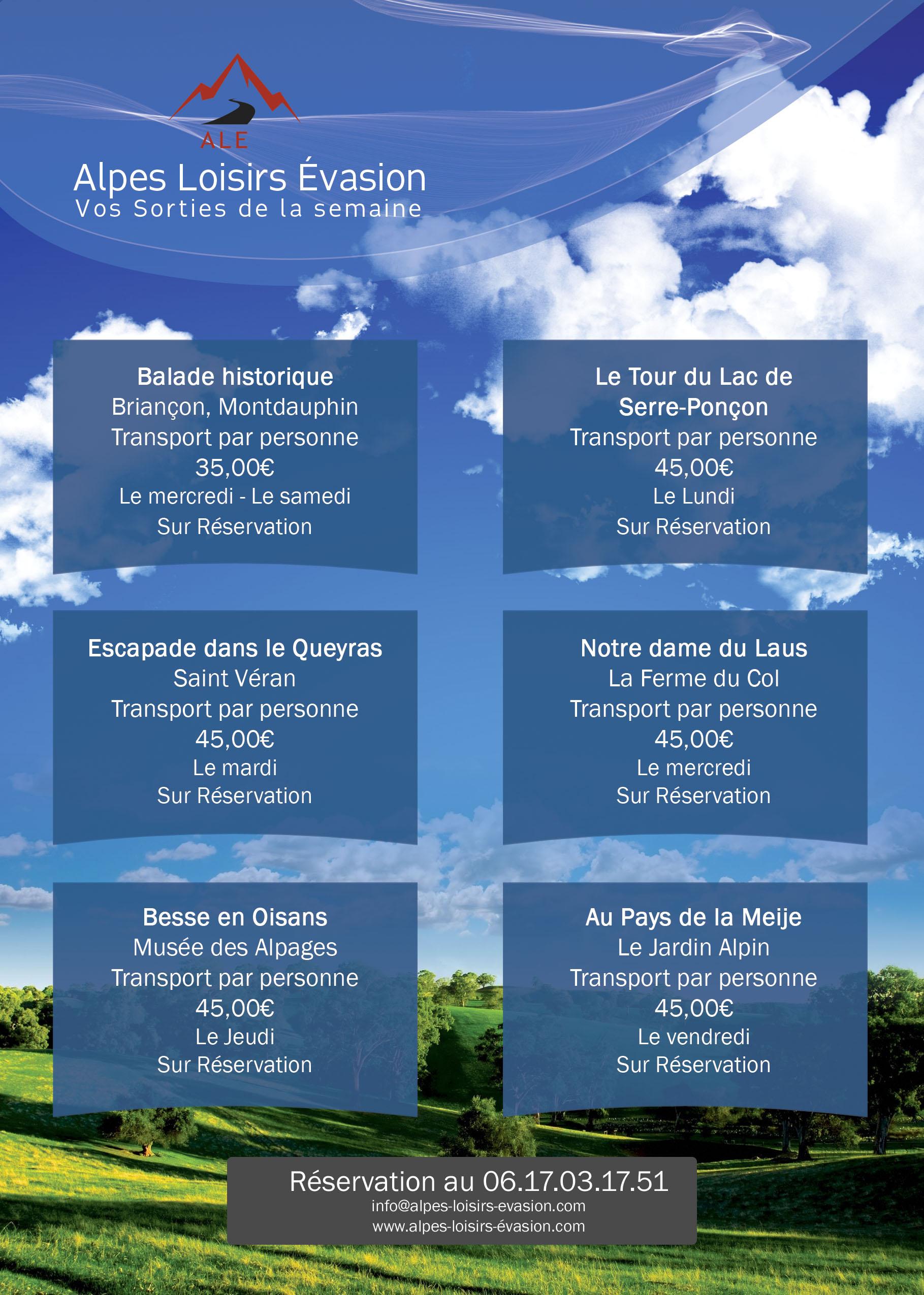 Programme des sorties